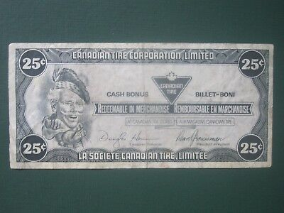 CANADIAN TIRE CORPORATION 1985 Twenty Five Cent Cash Bonus Money CTC Coupon