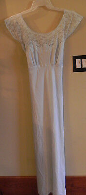 Vintage Pale Blue Satin Lace Ladies Full Length Nightgown