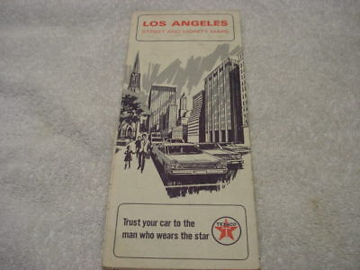Texaco Road Map of Los Angeles Streets & Vicinity from 1967