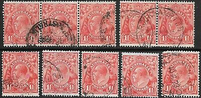 KGV   11/2d  RED  S.M.WMK'S  TYPE B  ALSO  A & B JOINED STRIPS  10 STAMPS