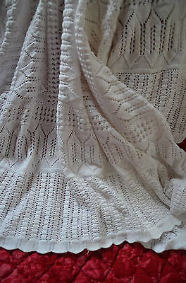 """Antique French hand knitted pure cotton bed cover, 110"""" x 80"""""""