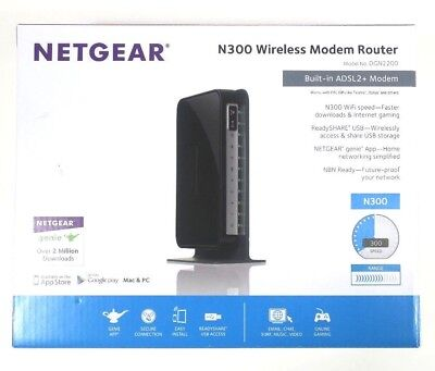 Netgear Dgn2200 Wireless N300 Adsl2/2+ Modem Router Wifi Wlan Wps Usb Dsl