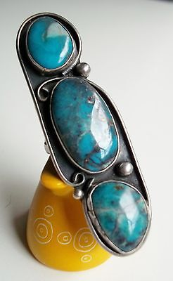 Turquoise & Sterling Silver Navajo Native American ring 1970's