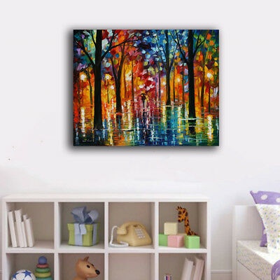Framed Canvas Prints Stretched Walking In Rainy Forest Wall Art Home Decor