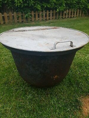 Antique Vintage Cast Iron or steel pot upcycled plant pot fire?