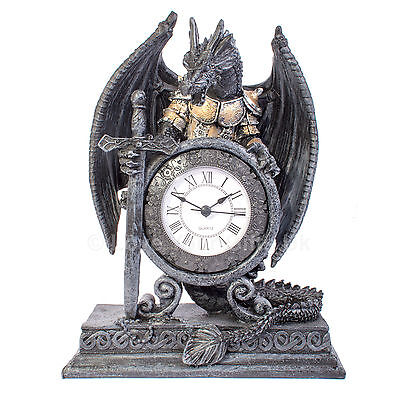 "Dragon in Armour Clock Gothic 20cm 8"" inches"