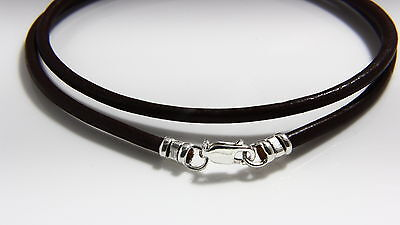 Mens/womens  silver black 1.5 mm leather thong cord necklace for pendants