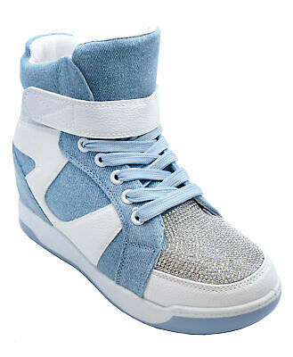 7e933a6d1daf5 Womens Blue White Wedge Lace-Up Baseball Hi-Top Ankle Boots Trainer Shoes 3