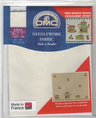 "DC37/Ecru Pack of DMC 18 count Ecru Aida approx size 35 x 45cm (14 x 18"")"