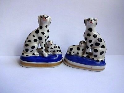 Superb Pair of Reproduction Staffordshire Dalmation Dog with Puppies