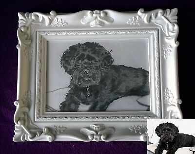 Personalised original hand drawn portrait own photo pet pencil