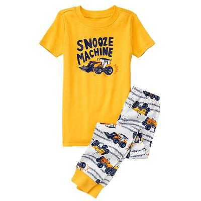 Gymboree 7 10 Snooze tractor 2-piece pajamas yellow short sleeve pants NWT