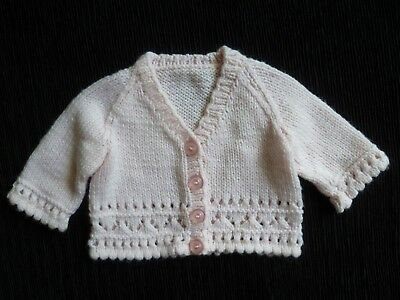 Baby clothes GIRL 0-3m soft pink cardigan hand-knitted SEE SHOP! COMBINE POST!