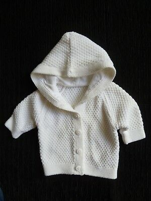 Baby clothes UNISEX BOY GIRL premature/tiny<6lb/2.7k white cardigan/jacket hood