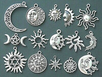 Choice of Moon and Sun Tibetan Silver Charms Pendants Pagan Wiccan Celtic