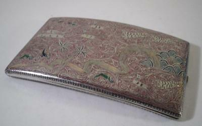 An Unusual Multi Coloured Silver Case With Hunting Tigers In Relief :  c1930