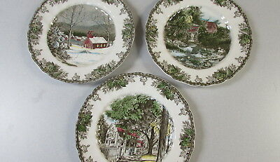 Johnson Bros Friendly Village School House Village Green Lily Pond Plates 3 Lot