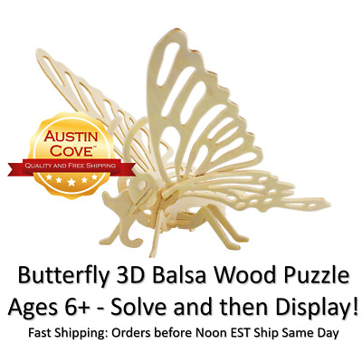 BUTTERFLY 3D BALSA Wood Puzzle - Papillon Lepidoptera Model Kit SC002 - New