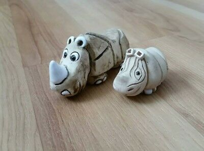 Aruguay Rhino and Baby Figurine pottery Handcrafted Signed cute