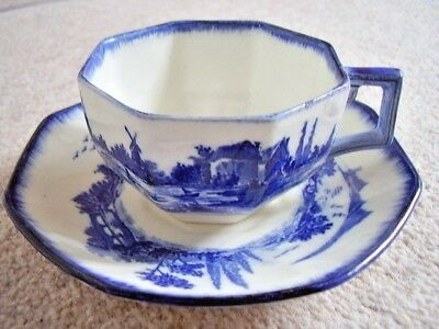 Doulton-Burslem England  porcelain blue and white cup & saucer,Norfolk..