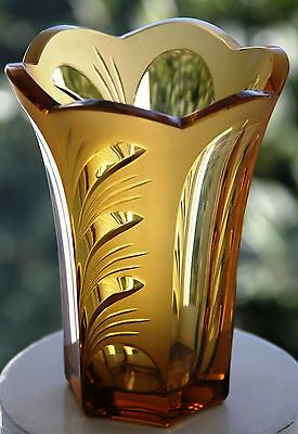 Art Deco amber glass vase - partly frosted - plant motif