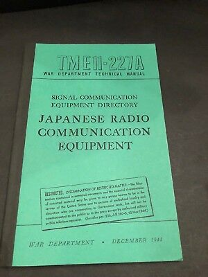 1944 Wwii Tme11-227A Japanese Radio Communication Equipment (Reprint)