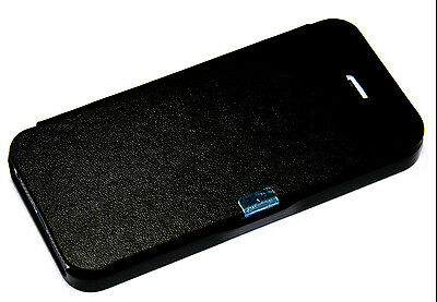 Black Leather Magnetic Folio Pouch Flip Cover Plastic Case  For iPhone 5 5S SE