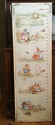 Vintage Beatrix Potter wooden growth chart - baby nursery or toddler kids room