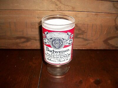 Vintage Budweiser Beer Logo 12oz Footed Drinking Glass Tumbler, Great condition