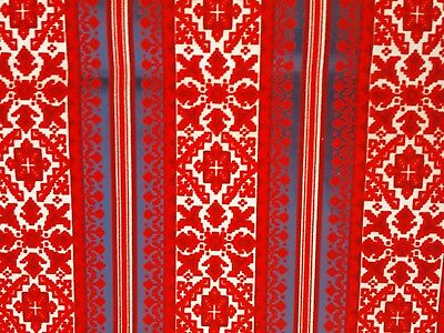 Vintage Red Flocked Wallpaper 1970s - New Old Stock, 2.8 Yards, Retro