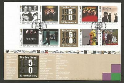GB IOM ISLE of MAN 2009 BEEGEES 50th ANNI FDC COVER POP MUSIC ARTISTS