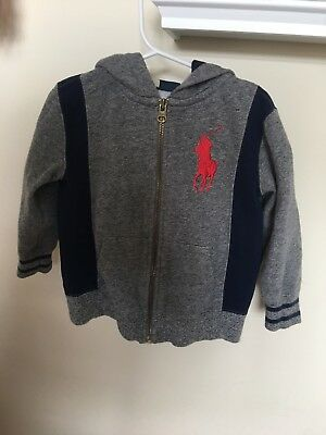 POLO Ralph Lauren  Toddlers 2/2T Gray/Blue Zip Up Hoodie NEW