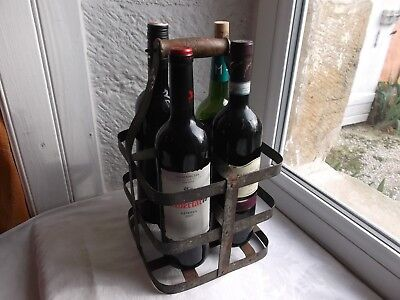 French authentic metal wine carrier 4 bottles wood handle vintage