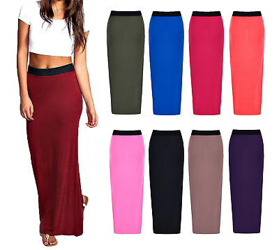 NEW LADIES WOMENS JERSEY MAXI lONG SKIRT GYPSY BODYCON SUMMER DRESS SIZE 8-24