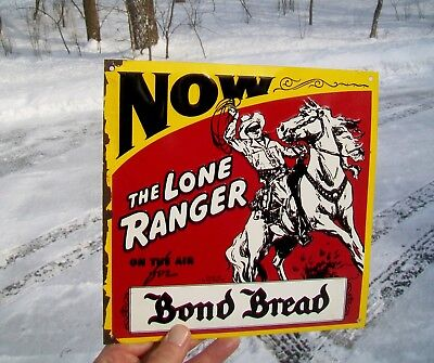 NOS Bond Bread Embossed Advertising Sign Featuring The Lone Ranger Graphics