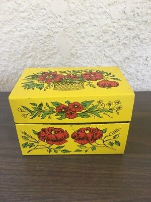 Vintage Syndicate Mfg. Metal Recipe Box Yellow / Red Flowers - Recipes,clippings