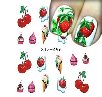 ❤️nouveaux 20 Stickers Fruits Bijoux Ongles Manucure Water Decals Nail Art