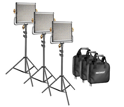 Neewer 3 Pack Dimmable Bi-color 480 LED Video Light and Stand Lighting Panel Kit