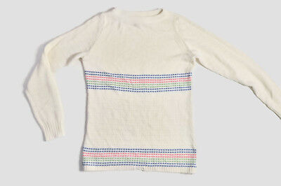 VTG 80s Pastel Rainbow Crop Sweater Striped Grunge Knit Pullover Top XS Small