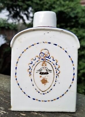 Chinese Tea Caddy Antique Porcelain Ceramic ca 1780    w/ 2 Birds