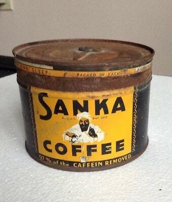 Vintage 1950's Or 1960's Sanka Coffee Can One Lb.