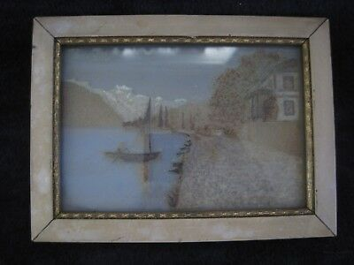 Victorian Mourning Hair Scene w/ Mountains, Lake, Sailboat and House early 1900