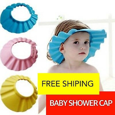 *NEW* Adjustable Baby Shower Cap Children Shampoo Bath Wash Hair Shield Hat Blue