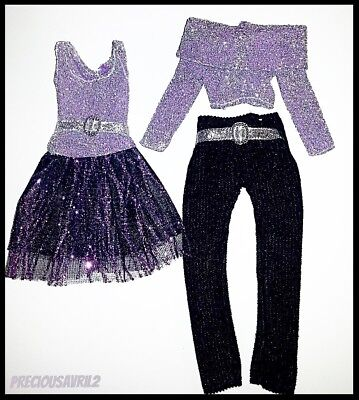 Barbie Doll Clothes - Set of 2 Purple Sparkle Outfits/Party/Evening/Outfit