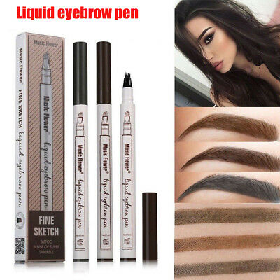 AU 3 Colors Eyebrow Pen Waterproof Sketch Liquid Tattoo Makeup Fine Durable EA