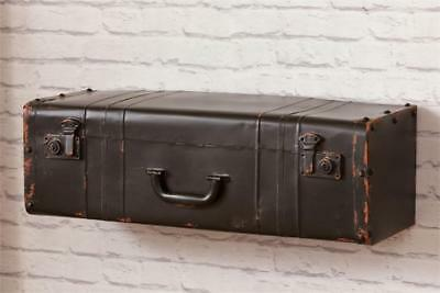 New Rustic Farmhouse Chic Shabby Antique Vintage Style Suitcase Wall Shelf Black