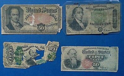 Lot of Four Different US Fifty (50) Cent Fractional Notes, Currency