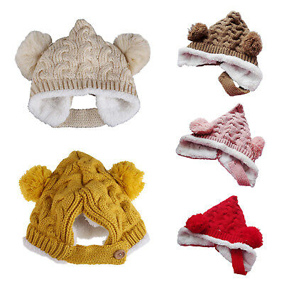 Baby Boys Girls Knit Crochet Rib Pom Pom Winter Hat Cap Warm Winter (Pink) Y8W7