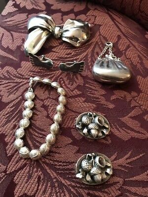 Lot of 7 Piece STERLING SILVER VINTAGE COSTUME JEWELRY Purse Acorns Tennis Siam