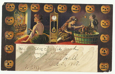 ORIGINAL VINTAGE 1900s HALLOWEEN Postcard UNUSUAL Invitation embossed posted1908